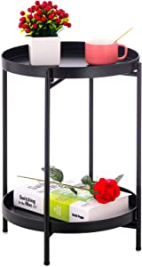 Sankell Black End Table, 2-Tier Metal Round Side Table with Removable Tray, Folding Small Accent Table/Nightstand, Anti-Rust Sofa Snack Table, Waterproof Coffee Table for Living Room Bedroom Office