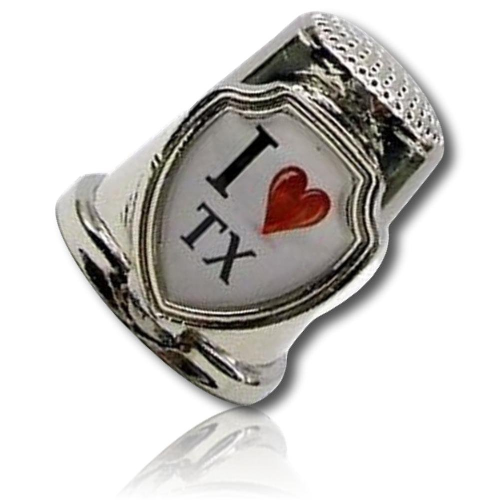 Custom /& Collectable {25mm Hgt.x 25mm Dia} 1 Single Silver, White, Black /& Red XL-Size Sewing Thimble Made of Fine-Grade Zinc Alloy Metal w//I Love TX Text Texas Chrome Sterling Lustrous Shiny