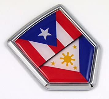 Puerto Rico Rican Flag Emblem Screw On Car License plate Decal  badge