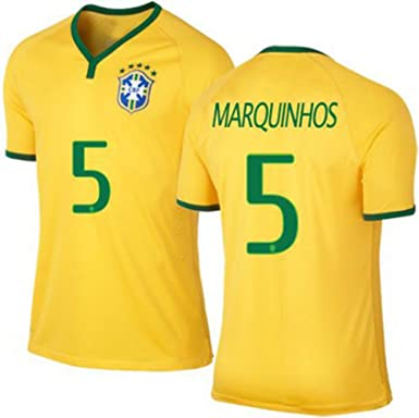 f57220fe0d4 2015 Copa America Brazil Home Jersey #5 Marquinhos Men Women Youth Soccer  Jersey: Amazon.co.uk: Clothing