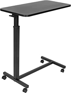 Mount-It! Overbed Table with Wheels | Flat Rolling Bed Side Tray Table for Medical or in-Home Use | Height Adjustable Hospital Table with Locking Casters