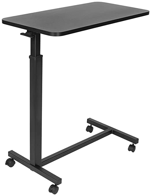 Mount-It! Overbed Table with Wheels | Flat Rolling Bed Side Tray Table for Medical or in-Home Use | Height Adjustable Hospital Table with Locking ...