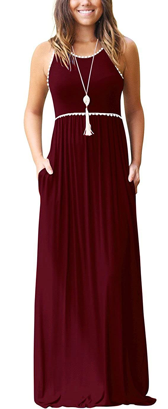01 Wine Red WEACZZY Women's Sleeveless Loose Plain Vacation Days Maxi Dresses Casual Long Dresses with Pockets