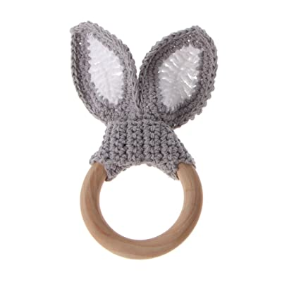 LANDUM Baby Girl Boy Teething Ring Chewable Teether Wooden Natural Bunny Rattle Toy: Home & Kitchen