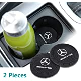 Auto sport 2.75 Inch Diameter Oval Tough Car Logo Vehicle Travel Auto Cup Holder Insert Coaster Can 2 Pcs Pack Fit AMG…