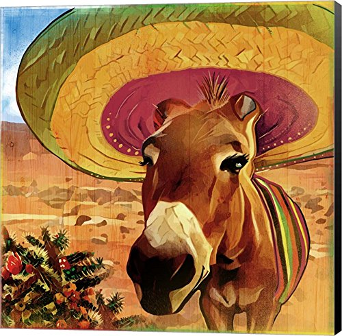 Fiesta Mule by ALI Chris Canvas Art Wall Picture, Museum Wrapped with Black Sides, 14 x 14 inches