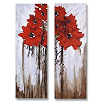 JH Lacrocon Handpainted Flowers Paintings on Canvas set of 2 Rolled Unmounted - 60X90 cm (approx. 24X36 inch) Wall Art for Living Room - Two Red Flowers In A Dark Background