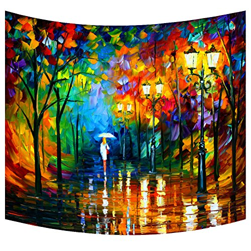 Scene Decor Street (Abstract Art Wall Tapestry Woman in a Raining Street Night Scene Oil Panting Print Wall Hangings Psychedelic Bohemian Hippie Tapestry Dorm Decor Decorative Tapestry Wall Art)
