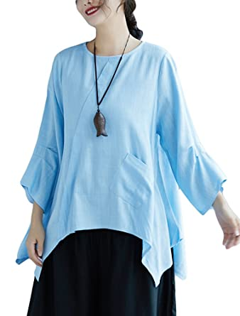 a0fc1f4949be7c Minibee Women s Ruffle Shirt Blouse High Low Asymmetrical Tunic Tops Blue S