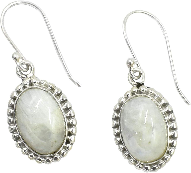 Silvesto India 925 plata de ley natural blanca piedra lunar colgante pendiente para mujer