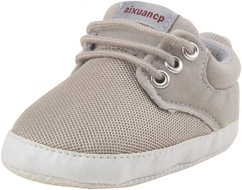 Mesh Toddler Lace-up Crib Shoes Prewalker Baby Girls Boys Soft Sole Sneakers
