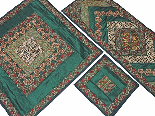 NovaHaat Pine Green Embroidered Elegant Tablecloth, Table Runner and 4 Placemats Set in Dupioni Art Silk ~ Tablecloth - 40 Inch, Runner - 60 Inch x 20 Inch, Placemats - ()