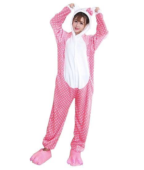 45db9bad1a Duraplast Women s Sleepwear Cat Animal Costumes One-Piece Pajamas Flannel S