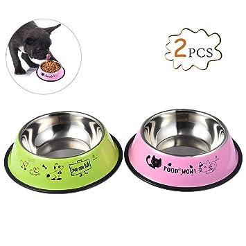 Petacc Cuencos para perros de acero inoxidable Cuencos antideslizantes para gatos con fondo de goma,