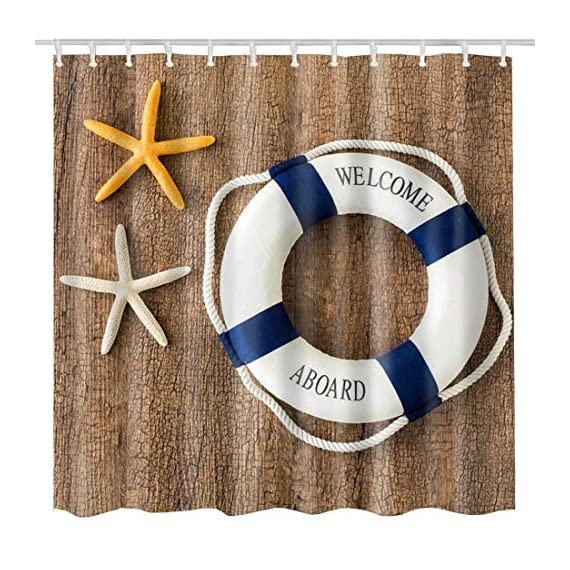 BROSHAN Nautical Shower Curtain Set, Marine Starfishes Life Buoy on Rustic Wood Bath Bathtub Curtain, Starfish Fabric Waterproof Shower Curtains for Seaside Bathroom Set, 72 x 72 inch -  - shower-curtains, bathroom-linens, bathroom - 61NoSAjFbTL. SS570  -