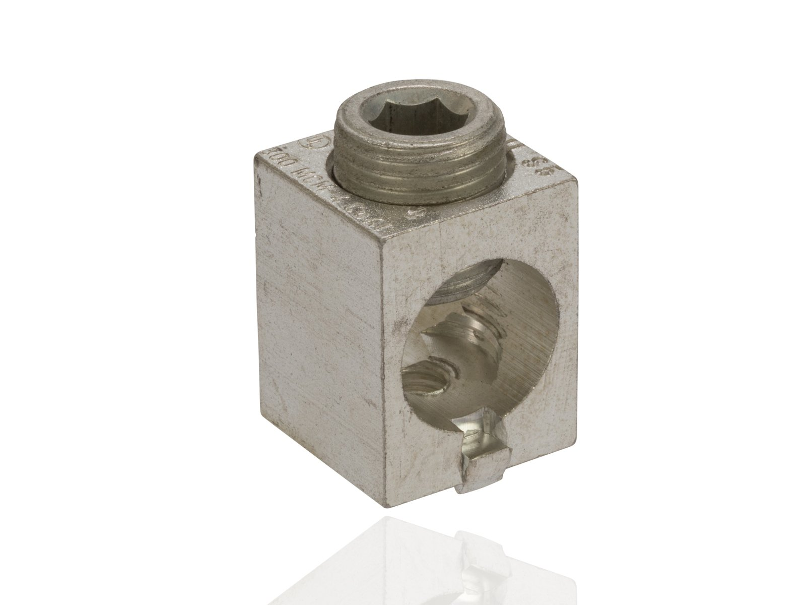Dual Rated Mechanical Aluminum Box Connector with ''Turn Prevent'', 300 MCM-6 Wire Range, 1/4''-20'' Mounting Hole, 0.88'' Width, 1.09'' Height, 0.88'' Length