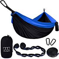 Gold Armour Camping Hammock - XL Double Parachute Camping Hammock (2 TREE STRAPS 16 LOOPS/10 FT INCLUDED) Lightweight Nylon Portable Hammock, Best Parachute Double Hammock