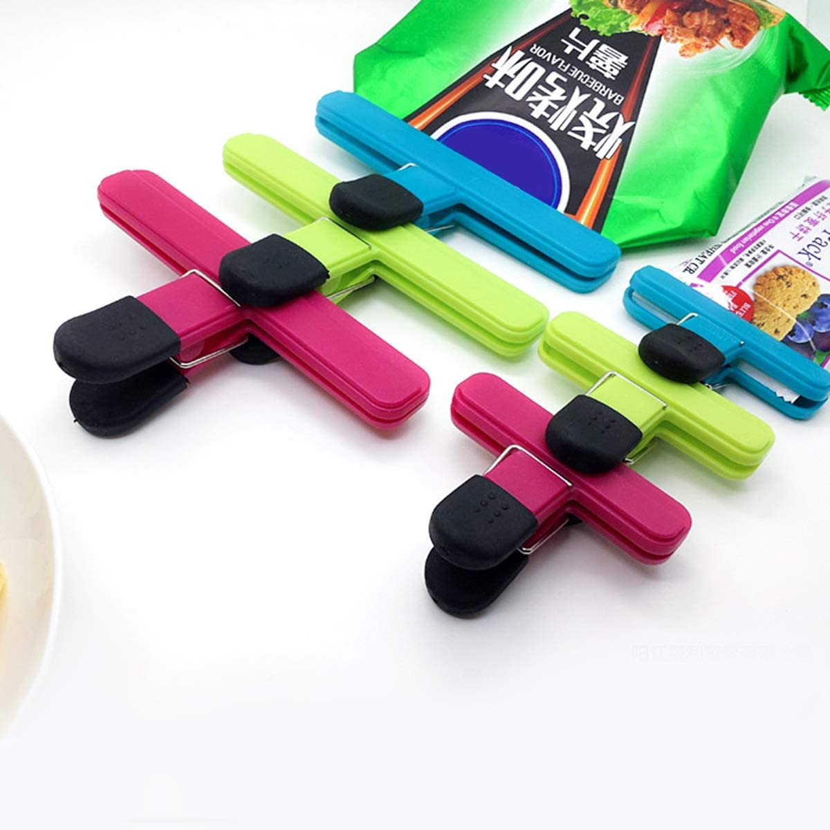 Mufuny Chip Bag Sealing Clip Set Large and Durable with Strong Spring Grip Clamps for Air Tight for Home Storage,Office,Food and Bread Bags Heavy-Duty Binder Bag Plastic Clips Size : 6pcs