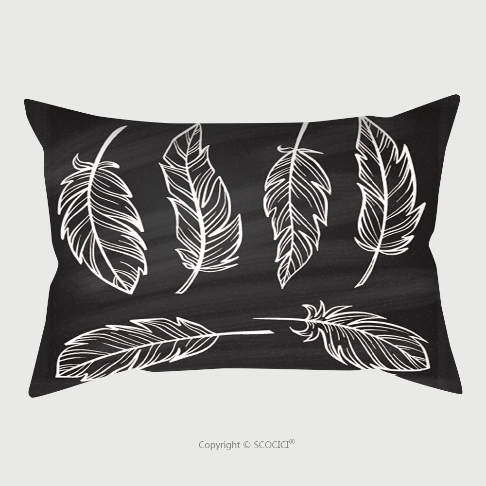 Custom Satin Pillowcase Protector Vintage Hand Drown Feathers Set On A Chalkboard Background 348268016 Pillow Case Covers Decorative by chaoran