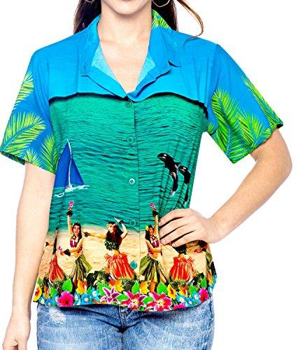 collar de ropa de playa con botones de la blusa de la camisa hawaiana de manga corta azul de las mujeres de las se�oras superiores Azul