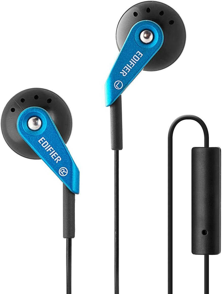 Edifier H185 Auriculares para Computadora Cascos Auriculares Hi-Fi de Estilo Clásico de Botón - con Micrófono - Azul