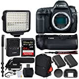Canon EOS 5D Mark IV DSLR Camera (Body) + Canon Battery Grip BG-E20 + 64GB Extreme Pro Memory Card + Canon Battery Pack LP-E6N + Vivitar Trolley Backpack + LED Video Light + Microphone – Video Bundle