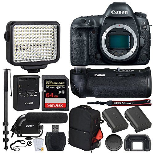 Canon EOS 5D Mark IV DSLR Camera (Body) + Canon Battery Grip BG-E20 + 64GB Extreme Pro Memory Card + Canon Battery Pack LP-E6N + Vivitar Trolley Backpack + LED Video Light + Microphone - Video Bundle