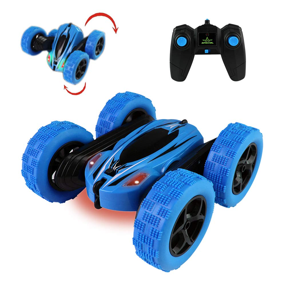 Jellydog Toy Stunt Rc Car, Remote Control Car, 360 Degree Flips Double Sided Rotating Race Car, High Speed Flashing Remote Controlled Car for Kids,Blue by Jellydog Toy (Image #1)