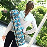 FODOKO Yoga Mat Bag and Carrier Gym Yoga Mat Strap Sling Bags 27inch Adjustable Zipper 2 Cargo Pockets (Blue) For Sale