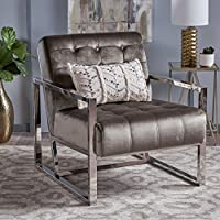 Linda Modern Tufted Grey Velvet Club Chair with Chrome Finished Stainless Steel Frame