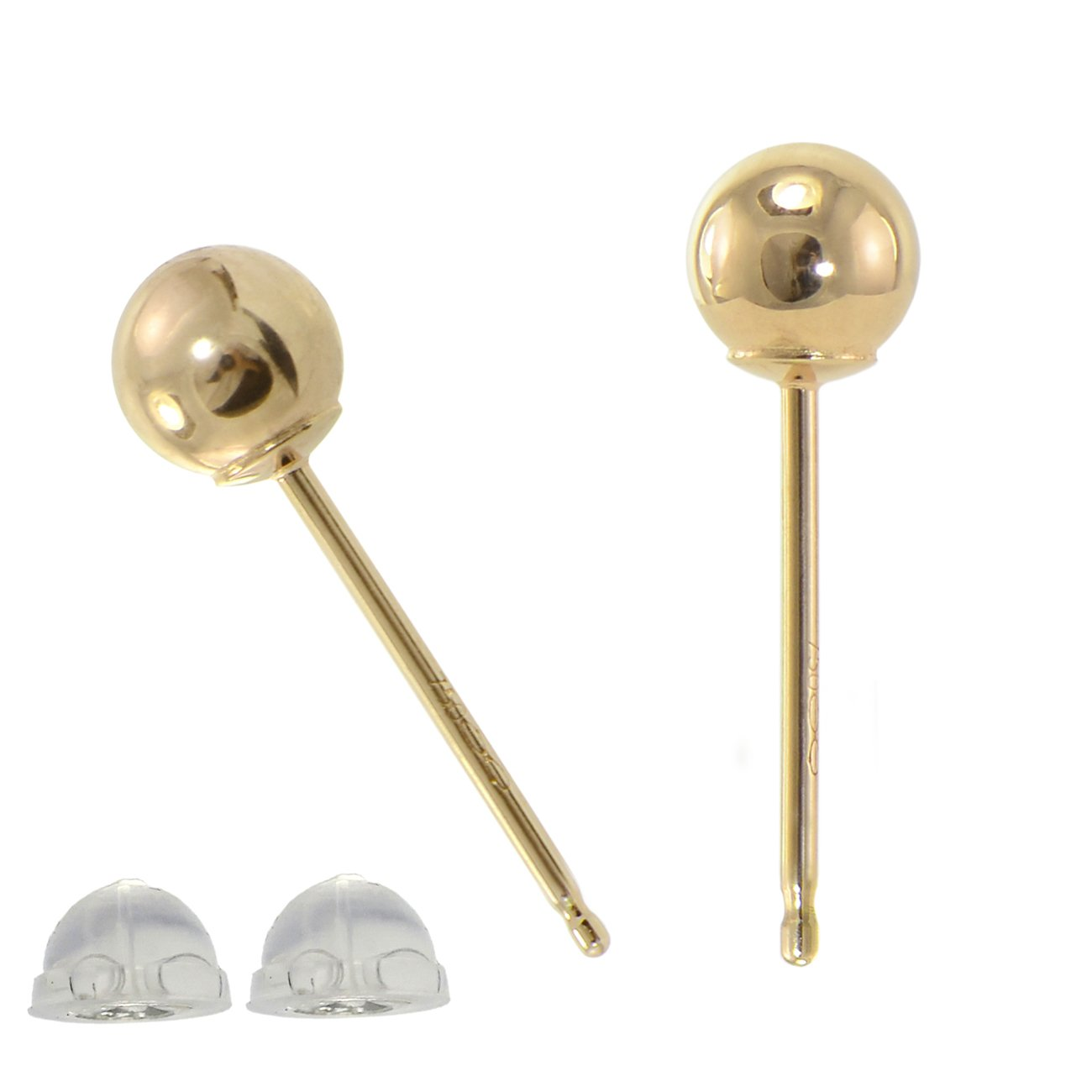 Paialco Solid 18K Yellow Gold Tiny Ball Piercing Earring Studs 4MM