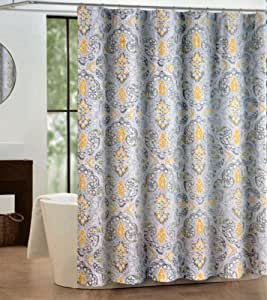 tahari mica shower curtain gray and yellow paisley pattern on white home kitchen. Black Bedroom Furniture Sets. Home Design Ideas