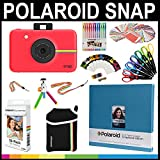 Polaroid Snap Instant Print Camera Gift Bundle + ZINK Paper (30 Sheets) + 8x8'' Cloth Scrapbook + Pouch + 6 Edged Scissors + 100 Sticker Border Frames + Color Gel Pens + Frames + Accessories