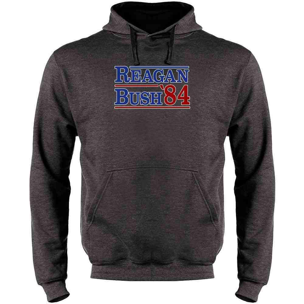 Pop Threads Ronald Reagan George Bush 1984 Campaign Mens Fleece Hoodie Sweatshirt