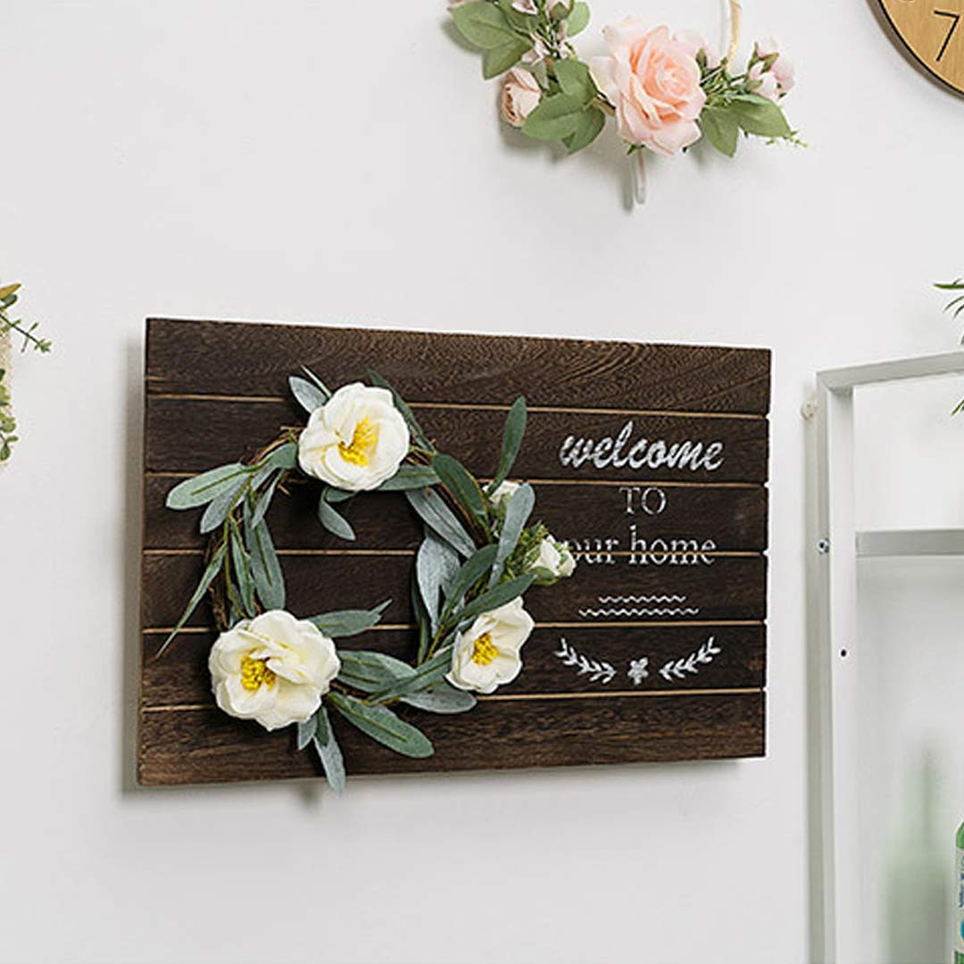 BRIGHTSHOW Rustic Wood Home Sign, Decorative Wooden Block Word Signs, Rustic Home Signs for Home Decor,42cm X 24cm (Wooden)