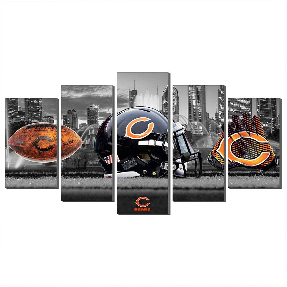 NFL Giclee Canvas Prints Wall Decor Chicago Bears Logo Painting, Home Decor Football Sport Pictures New Home Gifts (80x150cm,Frame)