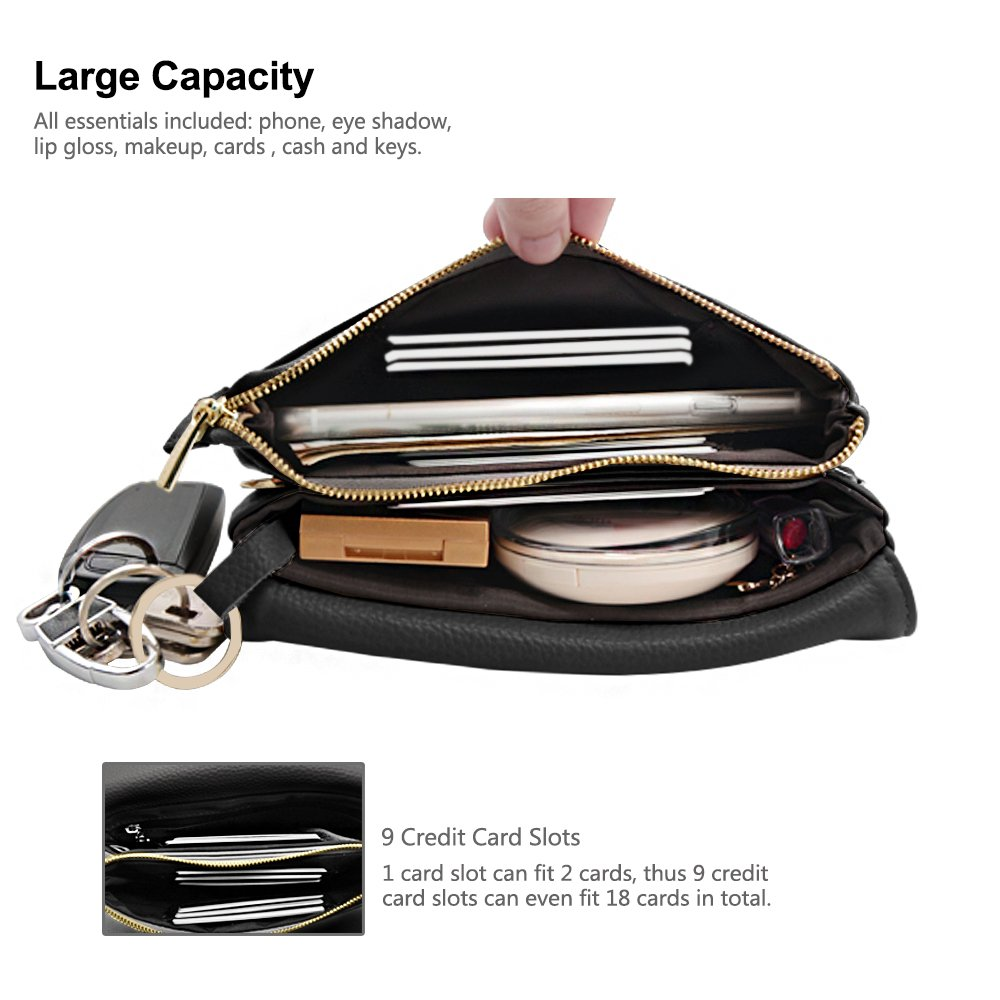 Befen Womens Leather Wristlet Clutch Crossbody Cell Phone Wallet, Mini Cross Body Bag with Shoulder Strap/Wrist Strap/Card Slots for iPhone 6S Plus/Samsung Note 5 – Black by Befen (Image #3)