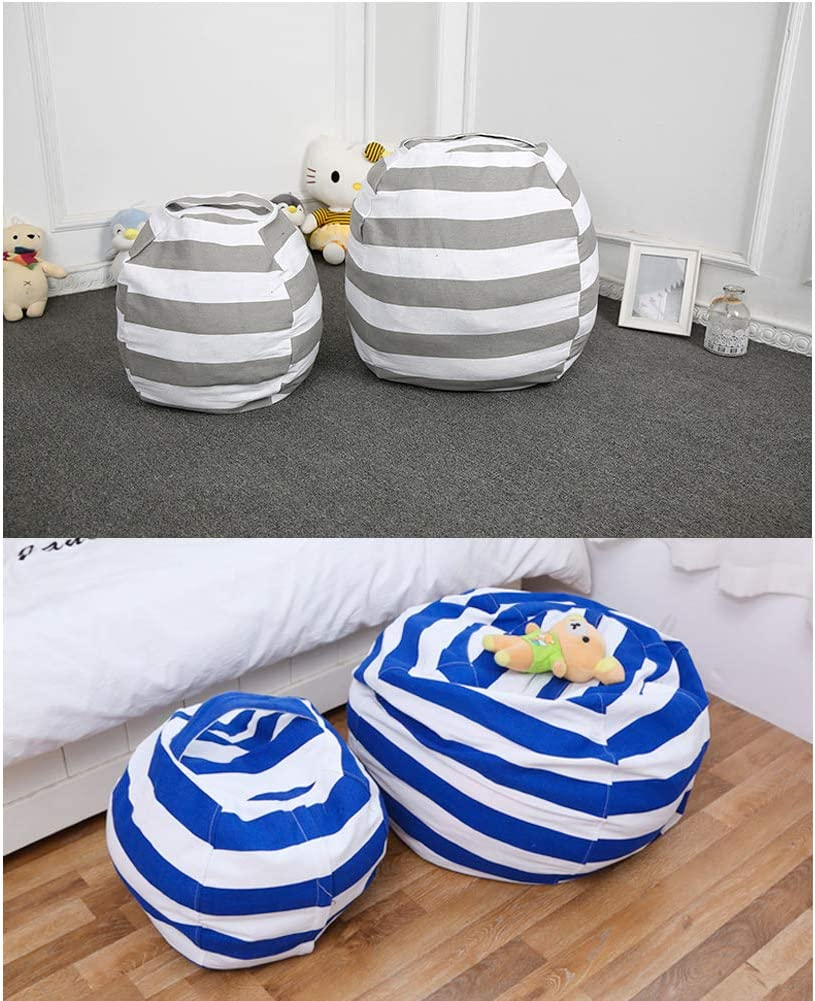 Stuffed Animal Storage Stuffed Animal Storage for Kids Room JILPAK Stuffed Animal Storage Bean Bag Chair Without Filling 24 /& 16 Canvas Bag with Zipper Blue Set 2 Pack Cover Only