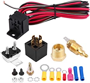 Acouto Car Universal Engine Electric Cooling Fan Thermostat Temperature Switch, Cooling Fan Thermostat Switch, 60Amp Sensor Relay Kit