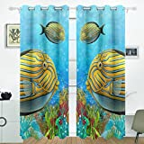 Cheap ALIREA Coral Reef And Fishes Blackout Curtains Darkening Thermal Insulated Polyester Grommet Top Blind Curtain for Bedroom, Living Room,2 Panel (55W x 84L Inch)