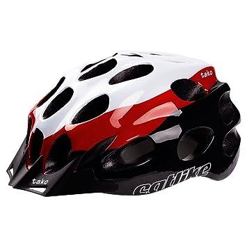 Catlike Tako - Casco de ciclismo, color blanco/rojo / negro brillo, talla