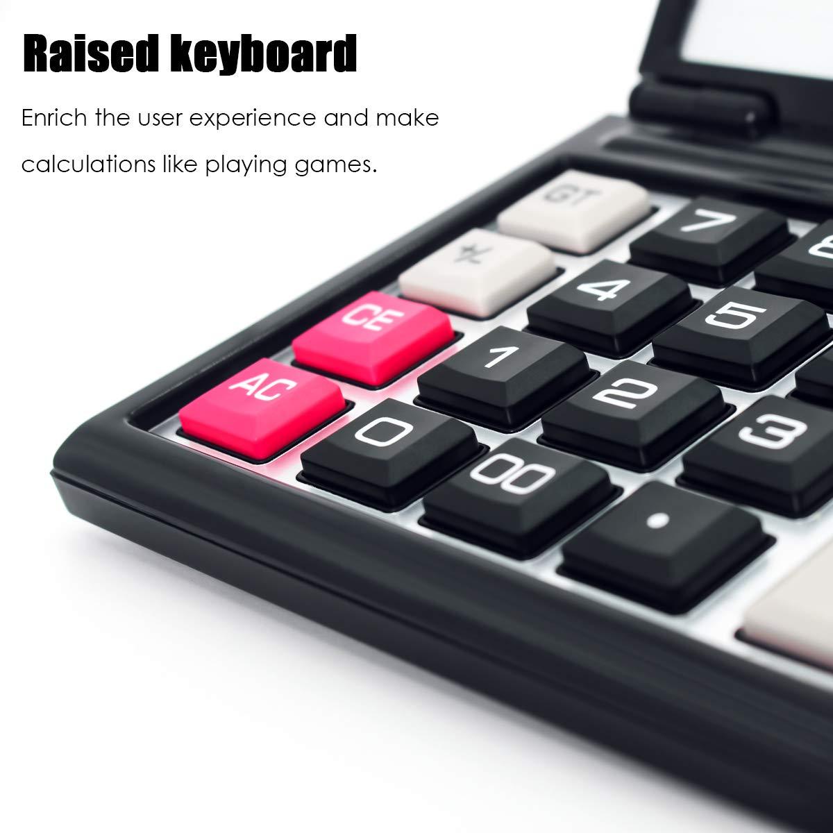 Iadong Taschenrechner und AAA Batterie Betrieb Calculator mit Gro/ßem Display Kompaktes Design 12-stellig Standard Function Tischrechner B/ürorechner Rechenmaschine Solar