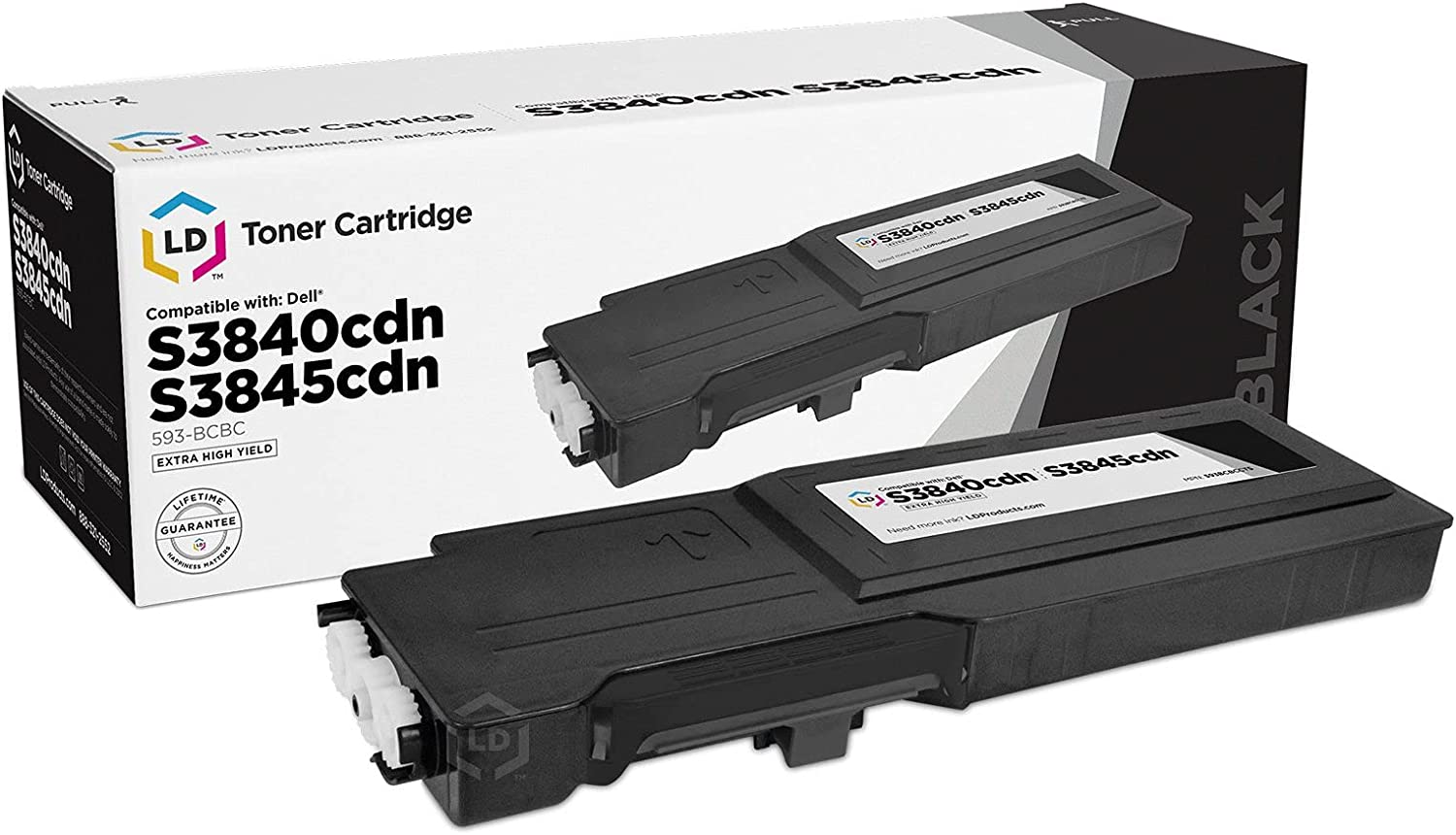 LD Compatible Toner Cartridge Replacement for Dell 593-BCBC 1KTWP Extra High Yield (Black)
