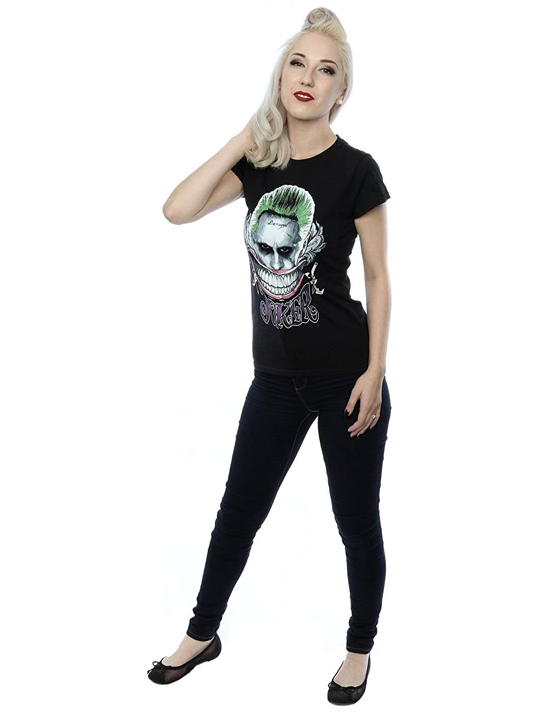 Suicide Squad Womens Joker Coloured Smile T-Shirt at Amazon Womens Clothing store: