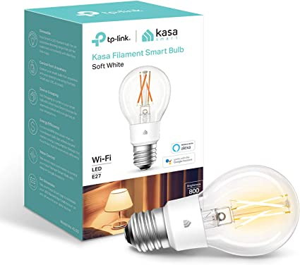 Kasa Smart Bulb by TP-Link, WiFi Filament Light Bulb, E27, 7W(60W equiv.), No Hub Required, Works with Alexa (Echo and Echo Dot) and Google Home, Dimmable Soft Warm White (KL50): Amazon.co.uk: Computers & Accessories