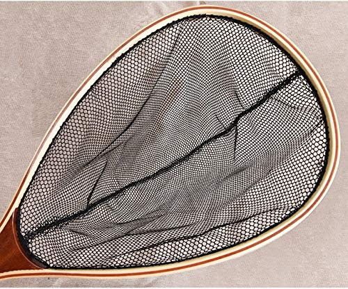 BeesClover Fishing net Wooden Handle Fly Fishing handline Fishing Gear Rubber Nylon mesh net exports Landing Bamboo Wood Pesca 27008B One Size