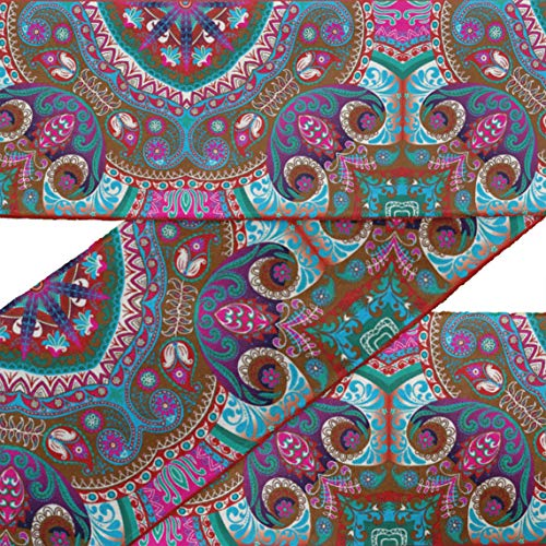 (IBA Indianbeautifulart Brown Paisley & Mandala Kaleidoscope RibbonTrimTape Fabric Laces for Crafts Printed VelvetTrim9 Yards Sewing Accessories 3 Inches)