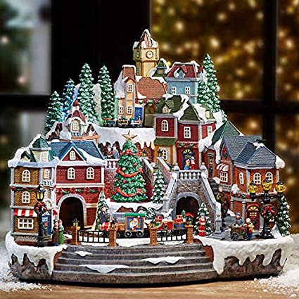 christmas village animated with lights music and a rotating tree and train - Animated Christmas Village