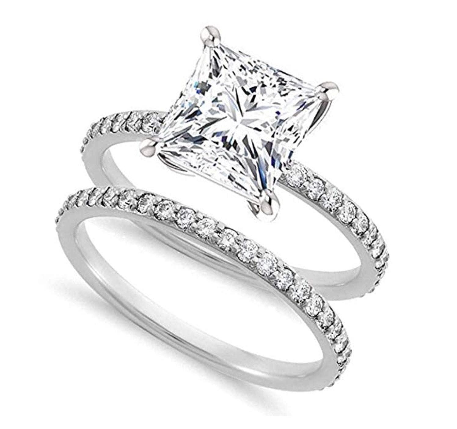 f4aaf9ef3d494 Venetia Realistic Supreme 1.5 Carat Princess Cut NSCD Simulated Diamond  Ring Band Set 925 Silver Platinum Plate