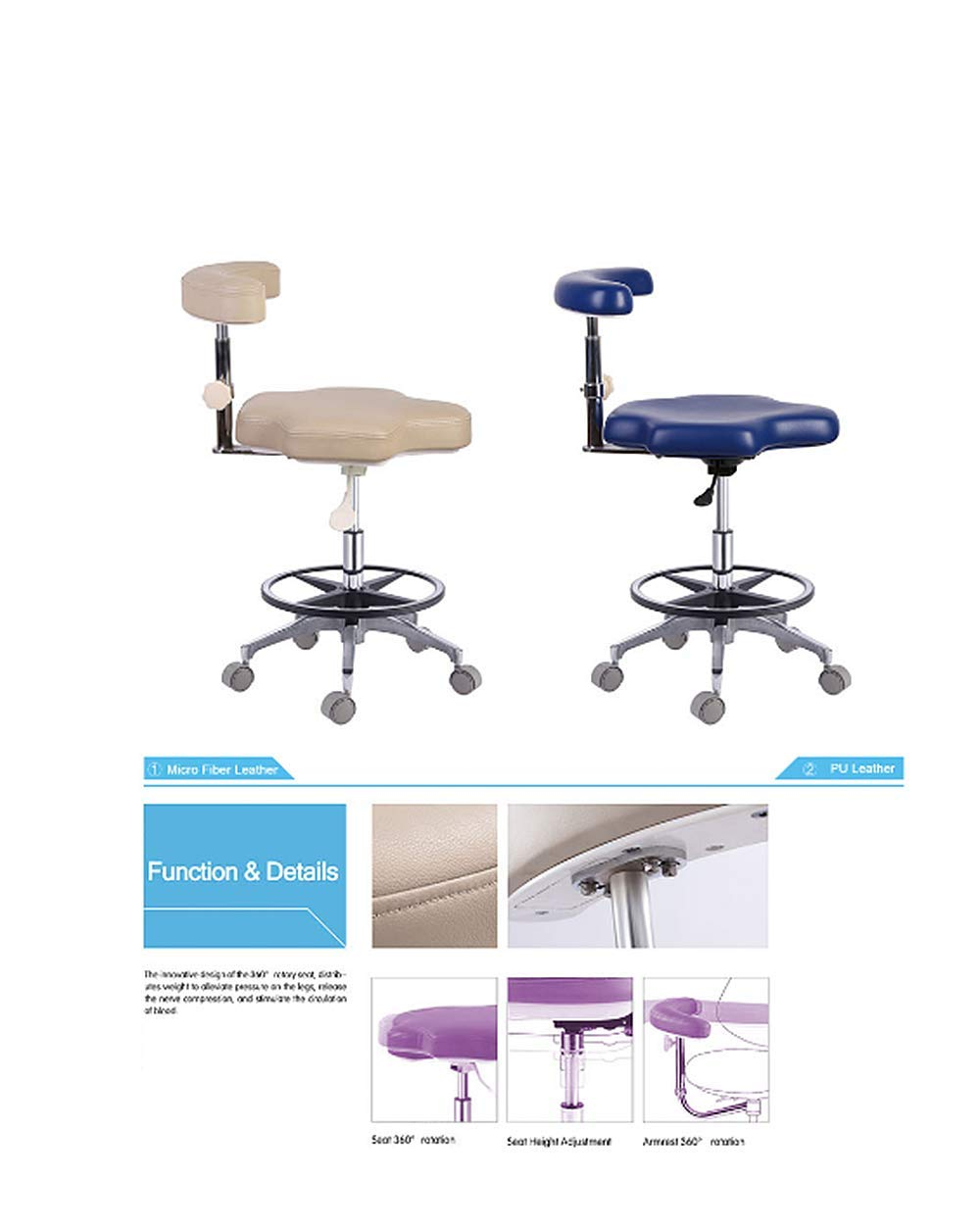 SoHome Dental Stool Assistant Chair Height Adjustable Hospital Nurse Stool with Foot-Ring Base PU Leather by SoHome